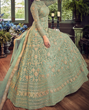 Mint Green Designer Heavy Embroidered Net Bridal Anarkali Gown-Saira's Boutique