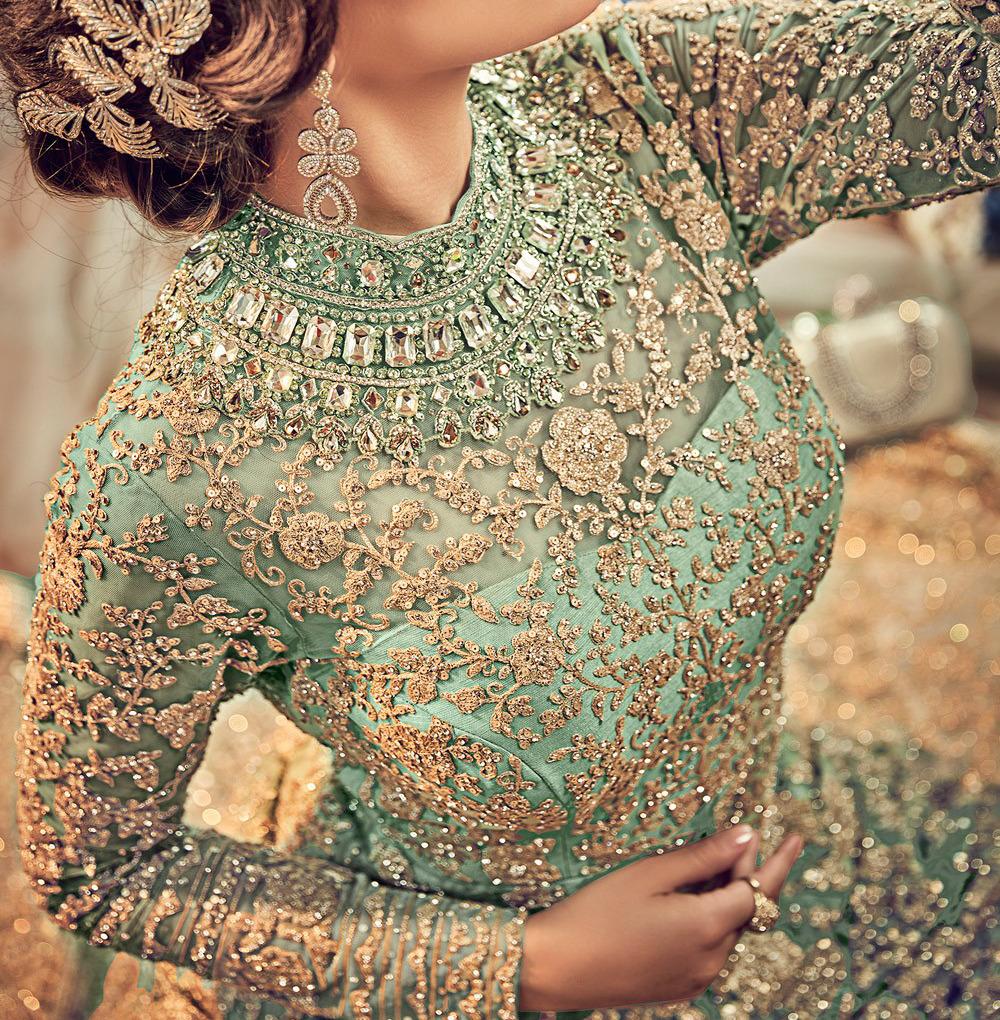 Mint Green Designer Heavy Embroidered Net Bridal Anarkali Gown
