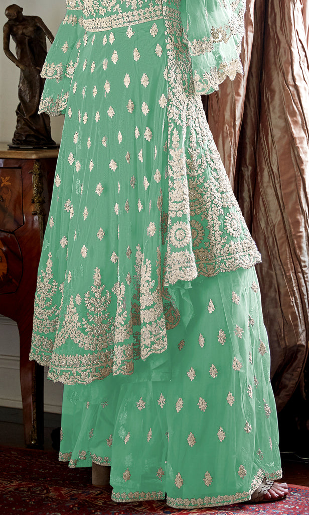 Mint Green Designer Heavy Embroidered Net Wedding Sharara Suit-Saira's Boutique