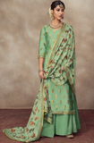 Mint Green Designer Heavy Embroidered Silk Jacquard Sharara Suit-Saira's Boutique