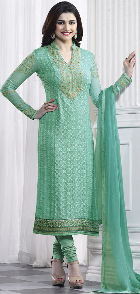 Mint Green Georgette Designer Embroidered Churidar Suit-Saira's Boutique