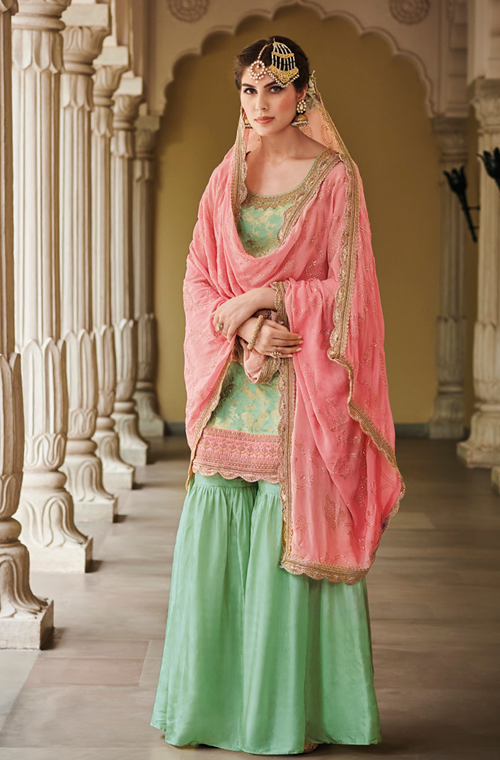 Mint Green & Pink Designer Embroidered Silk Jacquard Gharara Suit-Saira's Boutique