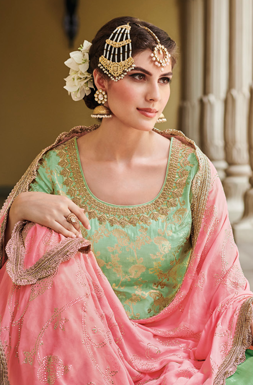 Mint Green & Pink Designer Embroidered Silk Jacquard Gharara Suit