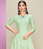 Mint Green & Silver Gray Designer Printed Cotton Satin Kurti Palazzo Set-Saira's Boutique
