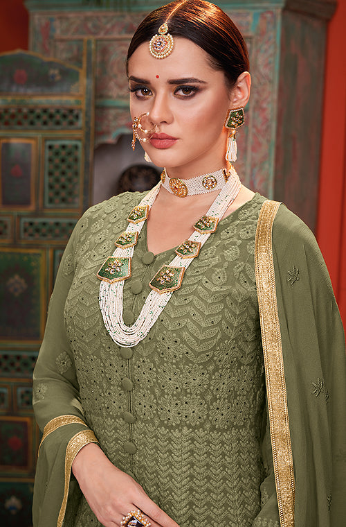 Moss Green Designer Heavy Embroidered Georgette Anarkali Suit-Saira's Boutique
