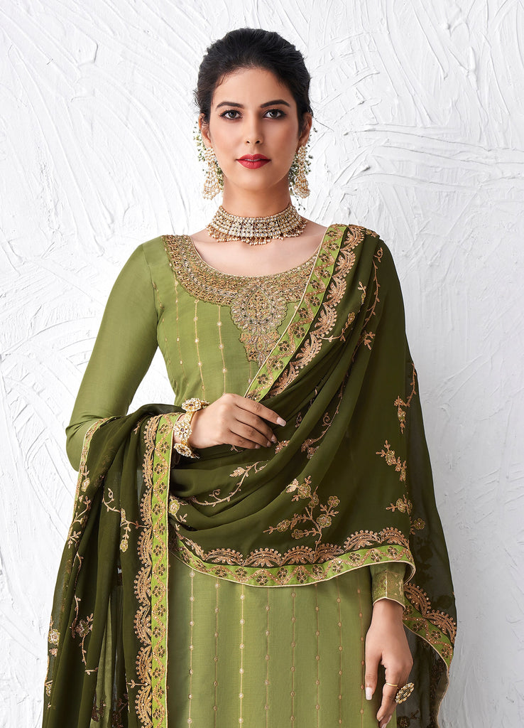 Moss & Mehendi Green Designer Embroidered Silk Party Wear Palazzo Suit-Saira's Boutique