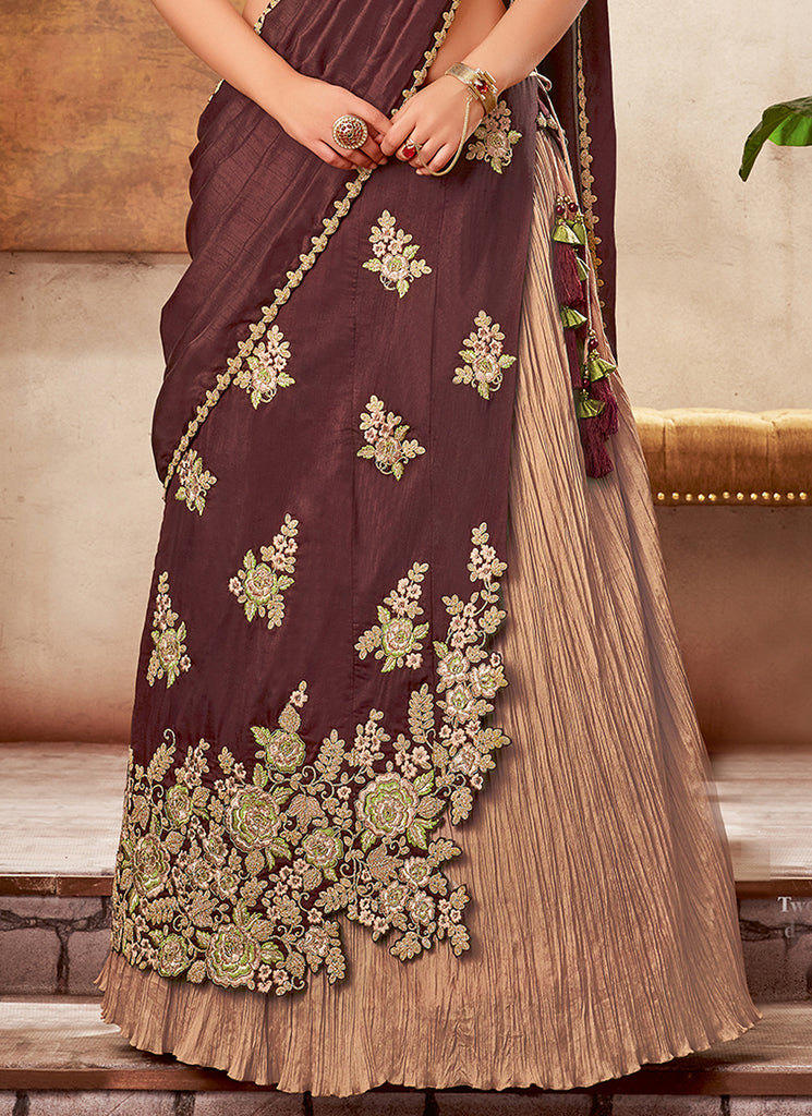 Mulberry & Beige Gold Designer Embroidered Silk Wedding Lehenga-Saira's Boutique