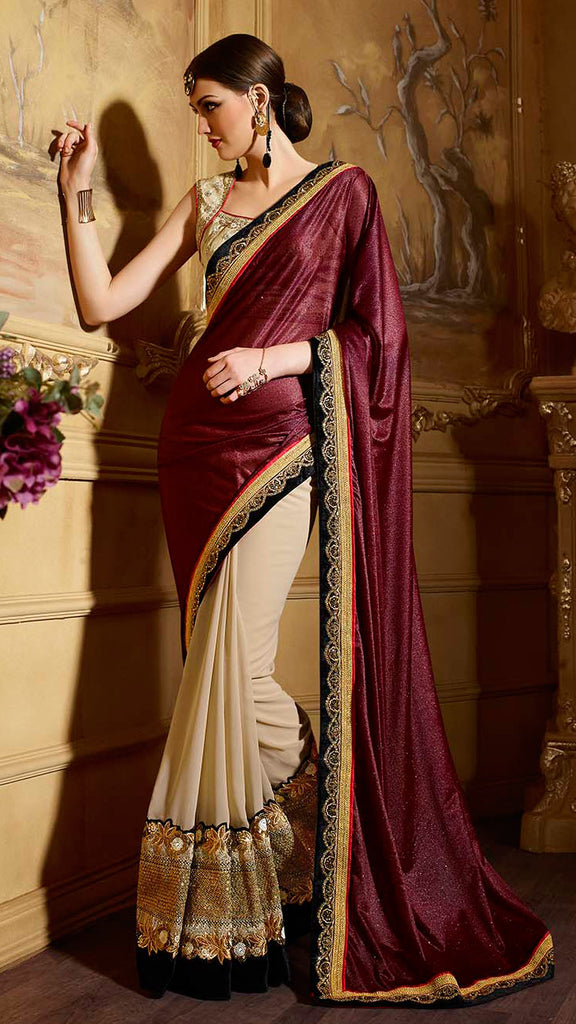Mulberry Purple & Cream Designer Embroidered Party Wear Saree