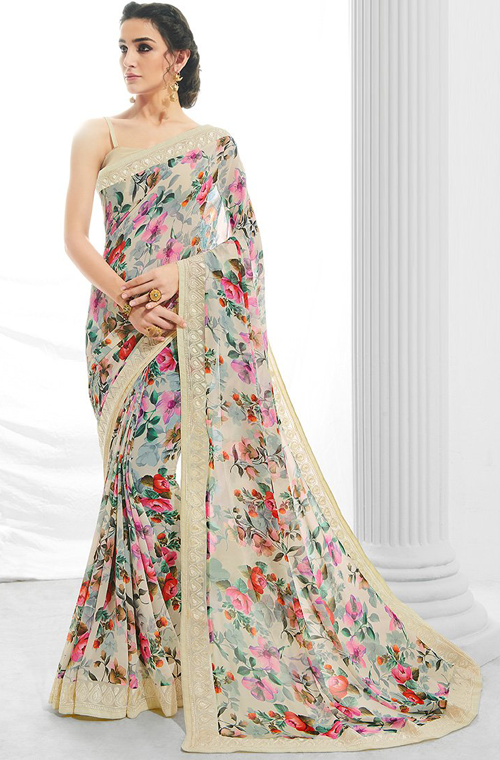 Multicolor Light Blue Designer Floral Print Georgette Saree-Saira's Boutique