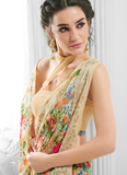 Multicolor Peach Designer Floral Print Georgette Saree-Saira's Boutique