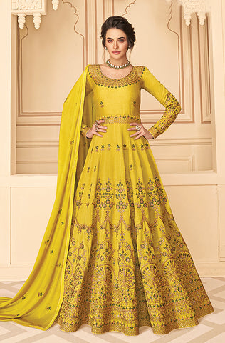 Cream Designer Embroidered Floor Length Silk Anarkali Suit