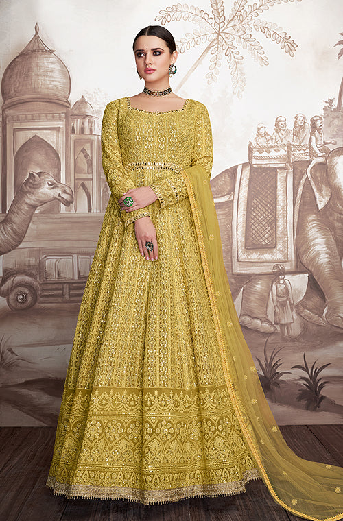 Mustard Olive Designer Heavy Embroidered Wedding Anarkali Suit-Saira's Boutique