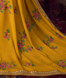 Mustard Yellow Designer Embroidered Party Wear Palazzo Suit-Saira's Boutique