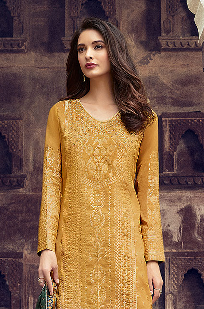 Mustard Designer Embroidered Silk Jacquard Party Wear Palazzo Suit-Saira's Boutique
