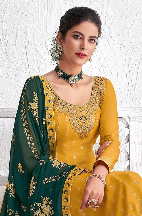 Mustard & Green Designer Embroidered Silk Party Wear Palazzo Suit-Saira's Boutique