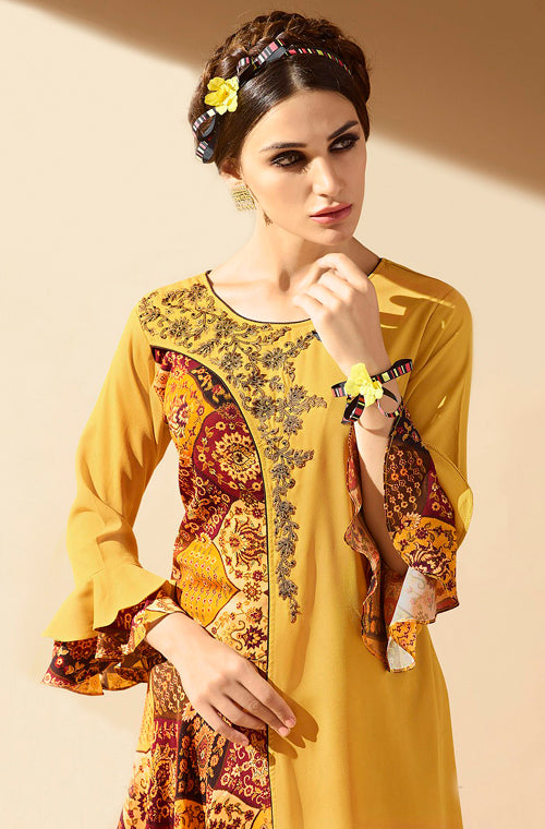 Mustard Yellow & Brown Embroidered Georgette Indo-Western Kurti