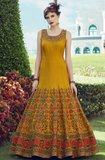 Mustard Yellow Designer Embroidered Silk Party Wear Indo-Western Gown-Saira's Boutique
