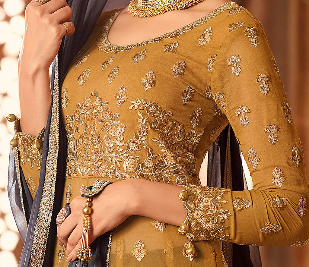 Mustard Yellow & Gray Designer Heavy Embroidered Georgette Anarkali Lehenga-Saira's Boutique