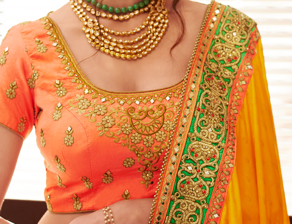 Mustard Yellow & Green Designer Embroidered Fancy Wedding Saree-Saira's Boutique