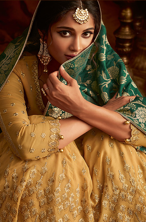 Mustard Yellow & Green Designer Heavy Embroidered Georgette Anarkali Lehenga-Saira's Boutique