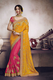 Mustard Yellow & Rose Pink Designer Heavy Embroidered Silk Wedding Saree-Saira's Boutique