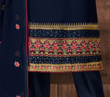 Navy Blue Designer Embroidered Georgette Pant Suit-Saira's Boutique