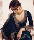 Navy Blue Designer Embroidered Georgette Sharara Suit-Saira's Boutique