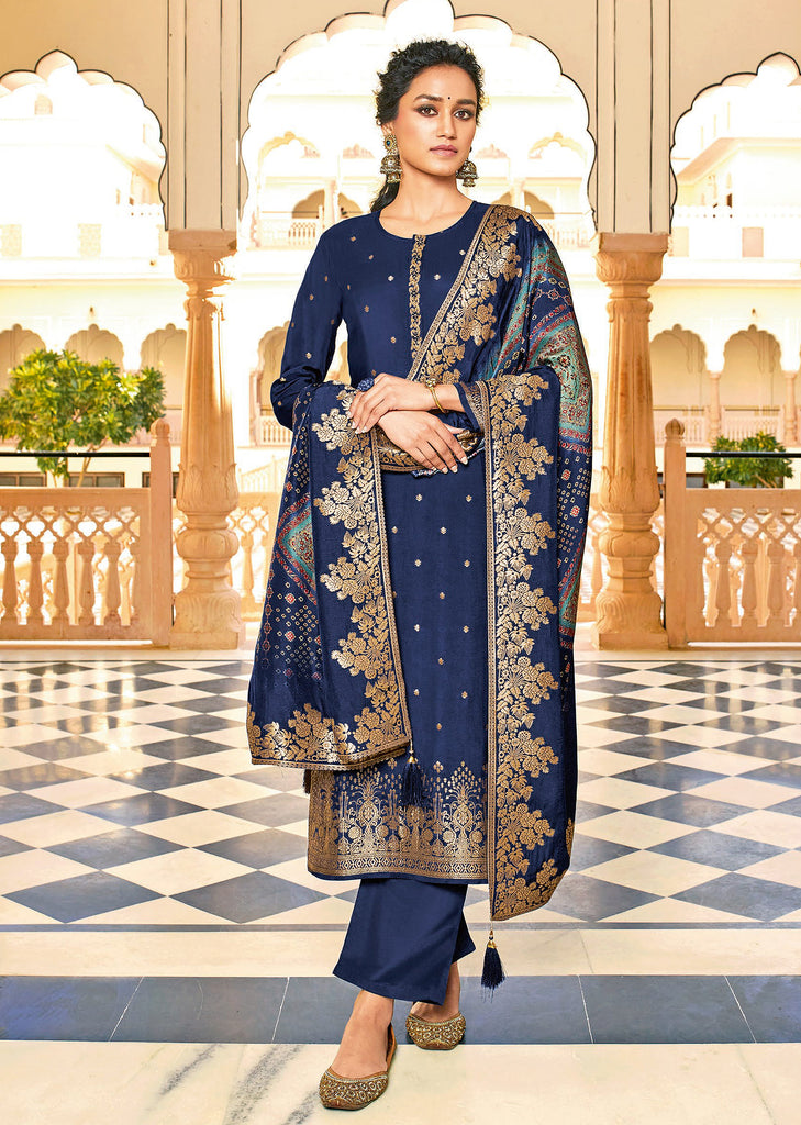 Navy Blue Designer Embroidered Jacquard Party Wear Pant Suit-Saira's Boutique