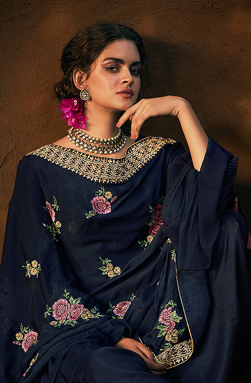 Navy Blue Designer Embroidered Silk Party Wear Palazzo Suit-Saira's Boutique