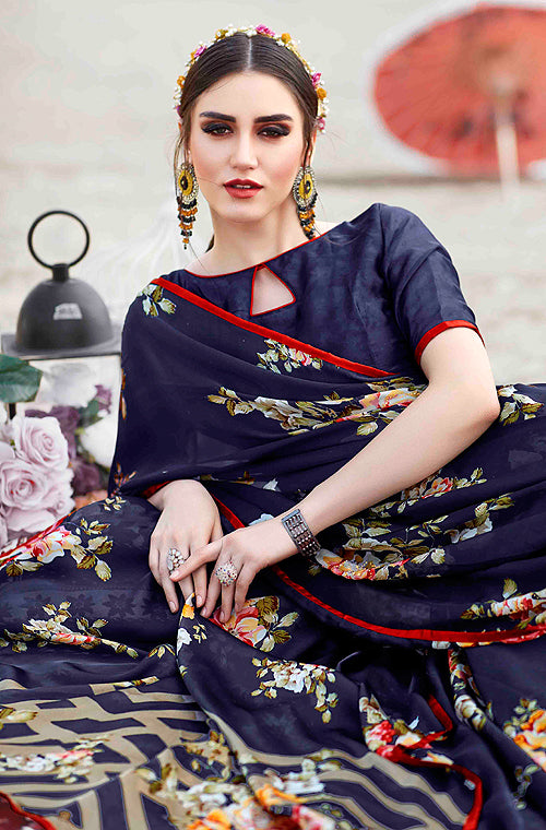 Navy Blue Designer Floral Print Fancy Georgette Saree-Saira's Boutique