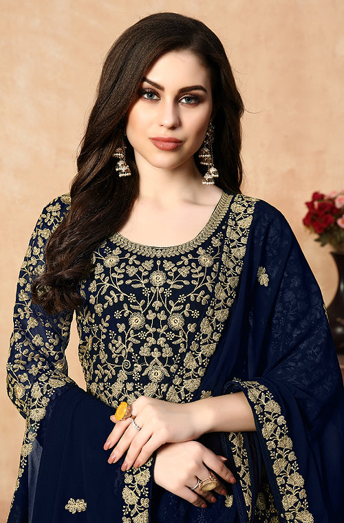 Navy Blue Designer Heavy Embroidered Georgette Anarkali Suit-Saira's Boutique