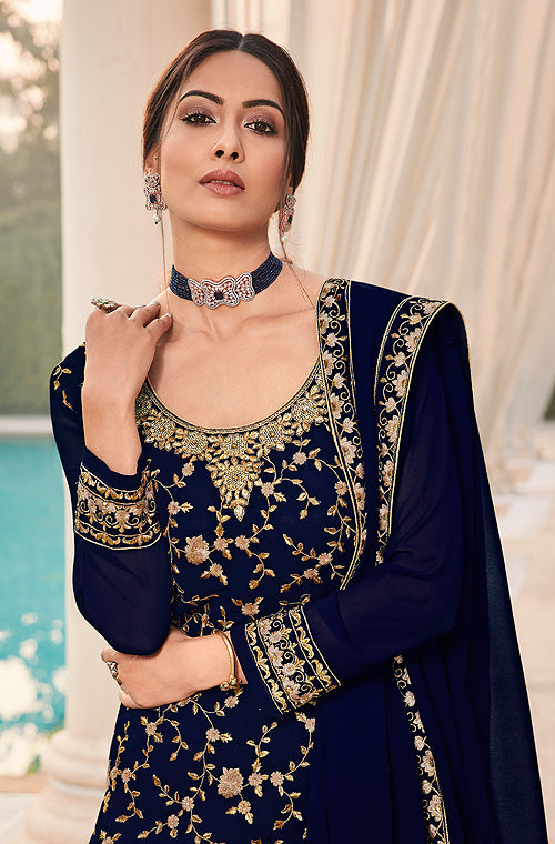 Navy Blue Designer Heavy Embroidered Wedding Sharara Suit-Saira's Boutique