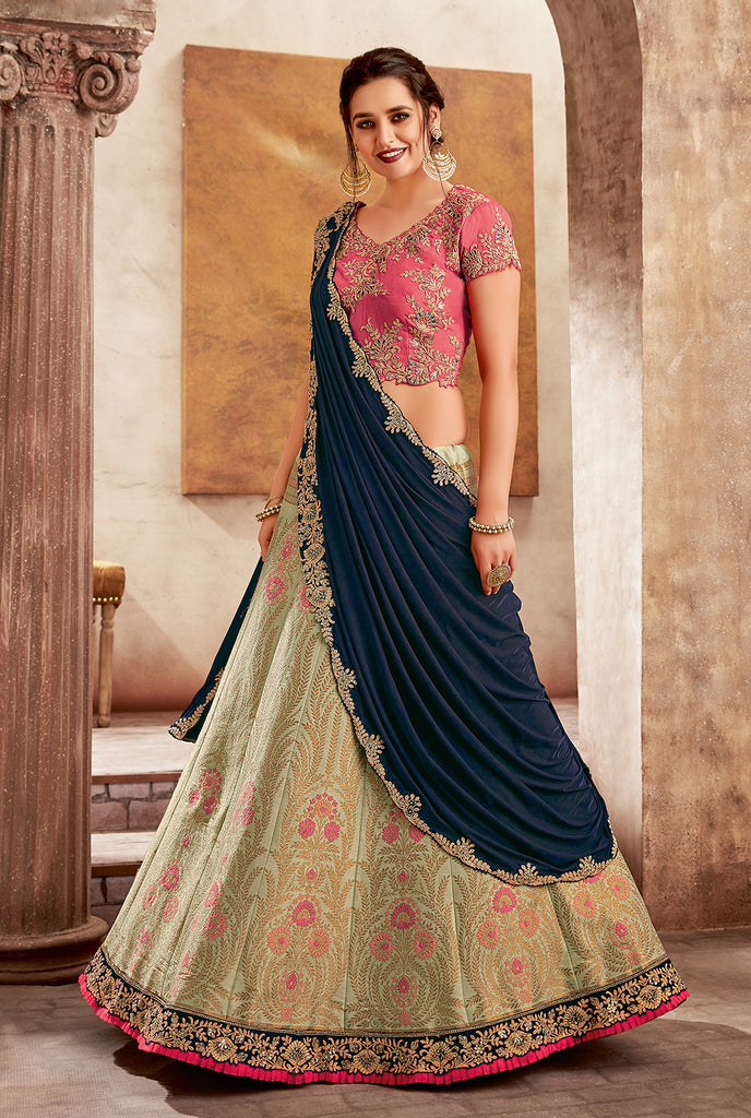Navy Blue Green & Pink Designer Embroidered Silk Wedding Lehenga-Saira's Boutique