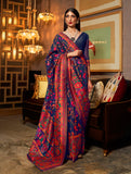 Navy Blue Multicolor Designer Embroidered Silk Wedding Saree-Saira's Boutique