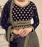 Navy Blue & Gold Designer Heavy Embroidered Wedding Sharara Suit-Saira's Boutique