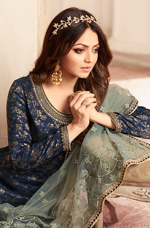 Navy Blue & Sage Gray Designer Embroidered Jacquard Sharara Suit-Saira's Boutique