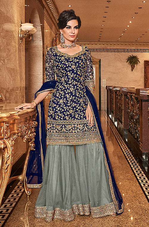 Navy Blue & Sage Gray Designer Embroidered Wedding Gharara Suit-Saira's Boutique