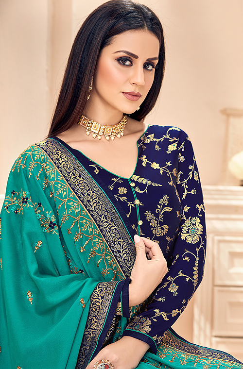 Navy Blue & Teal Designer Embroidered Silk Jacquard Palazzo Suit-Saira's Boutique