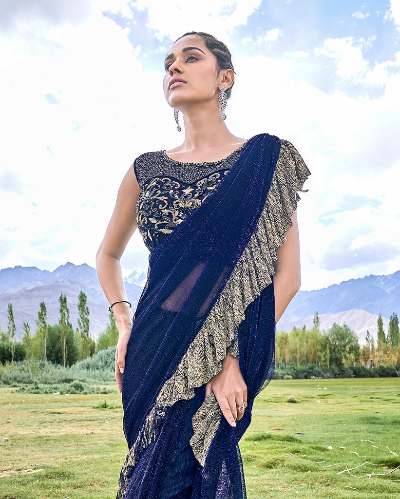 Navy Blue & Beige Designer Embroidered Fancy Party Wear Frill Saree-Saira's Boutique