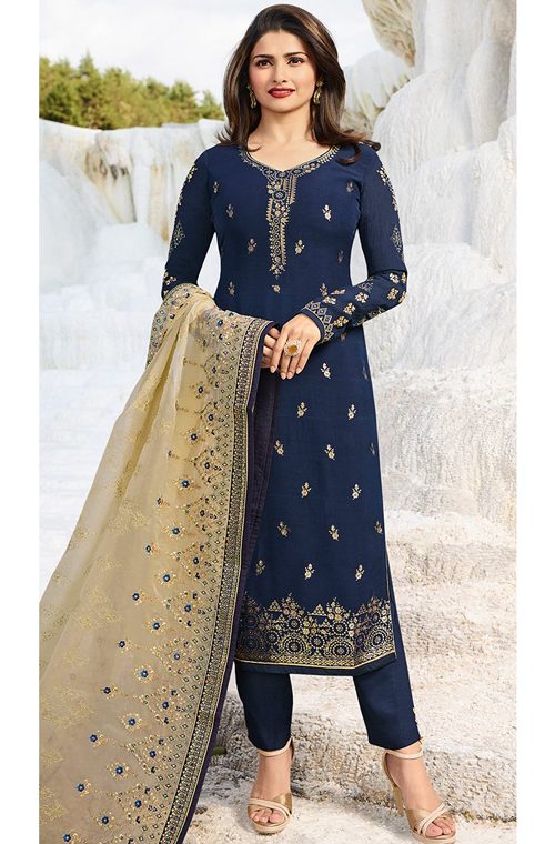 9a21433790f2 Navy Blue   Beige Designer Embroidered Party Wear Pant Suit ...