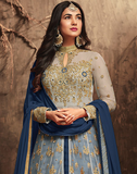 Navy Blue & Beige Designer Heavy Embroidered Net Wedding Anarkali Lehenga-Saira's Boutique