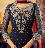 Navy Blue & Coral Pink Designer Embroidered Georgette Palazzo Suit-Saira's Boutique
