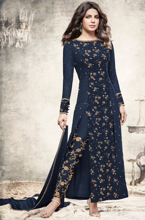 Navy Blue Designer Embroidered Georgette Party Wear Pant Suit