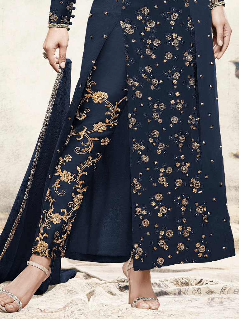 Navy Blue Designer Embroidered Georgette Party Wear Pant Suit-Saira's Boutique
