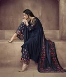 Navy Blue Designer Embroidered Readymade Anarkali Style Palazzo Suit-Saira's Boutique