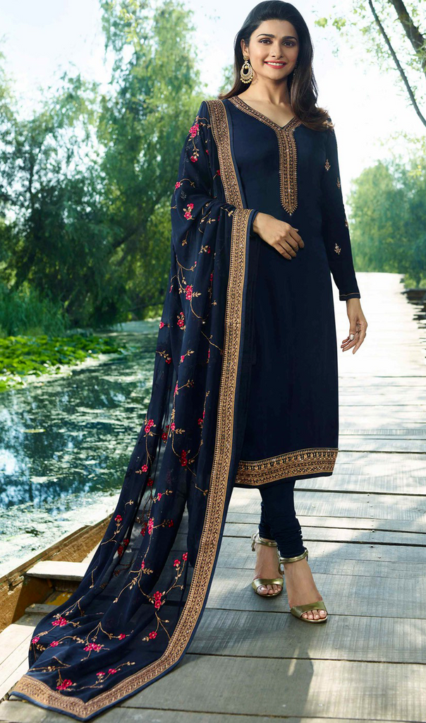Navy Blue Designer Embroidered Satin Georgette Churidar Suit-Saira's Boutique