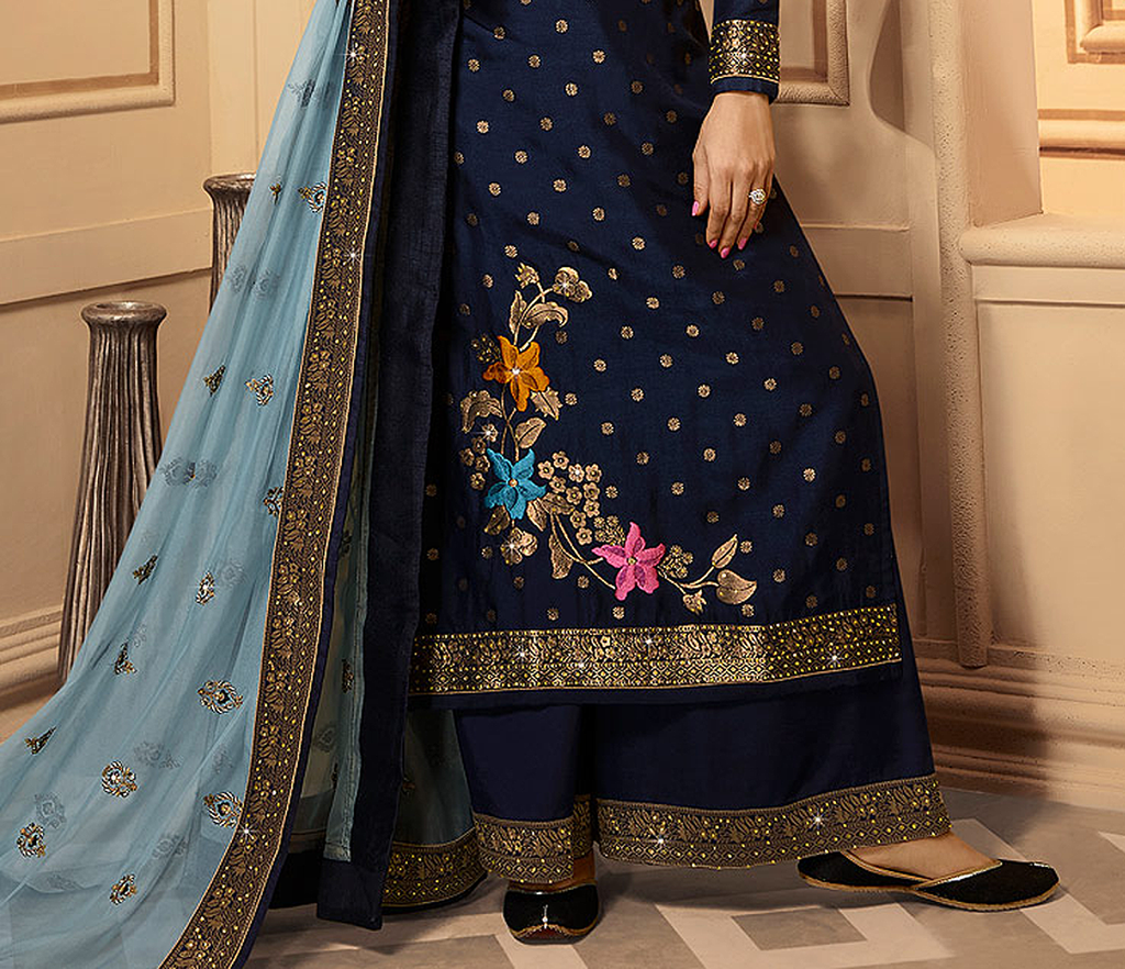 Navy Blue Designer Embroidered Silk Jacquard Palazzo Suit-Saira's Boutique