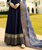 Navy Blue Designer Embroidered Silk Party Wear Anarkali Suit-Saira's Boutique