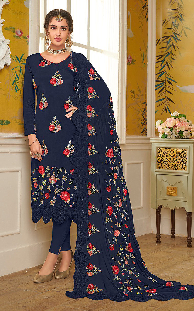 Navy Blue Designer Embroidered Silk Party Wear Pant Suit-Saira's Boutique
