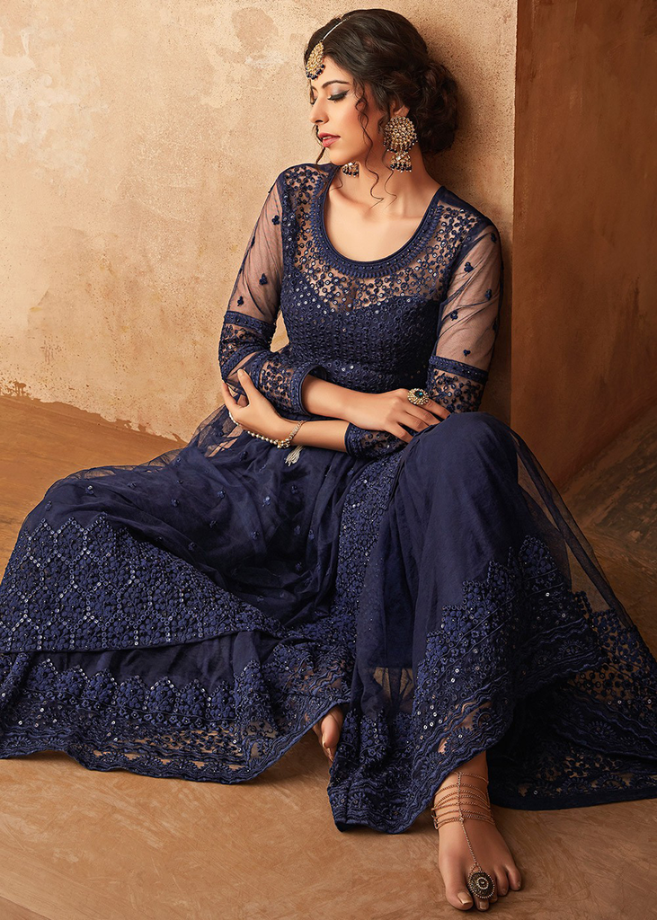 Navy Blue Designer Heavy Embroidered Net Sharara Suit-Saira's Boutique